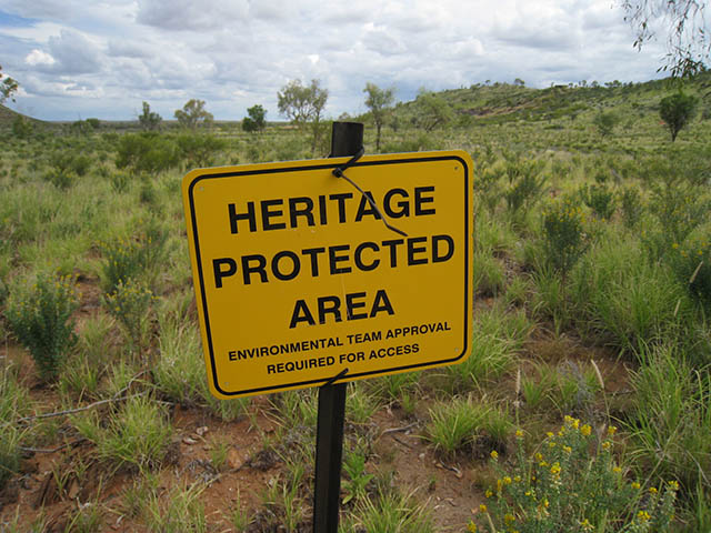 Heritage protected area sign in landscape